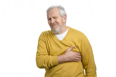 Portrait of man with sudden heart stroke.