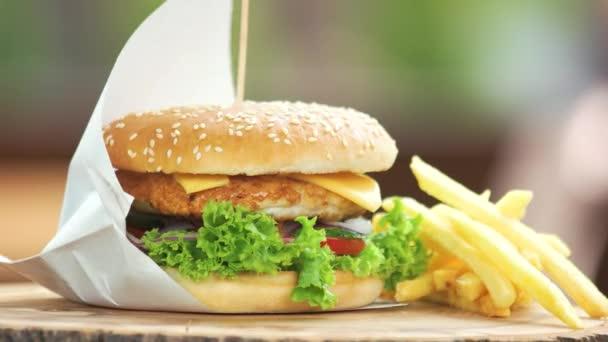 hamburger a hranolky zblízka