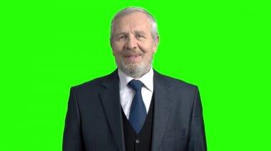 Happy elderly businessman on green background.