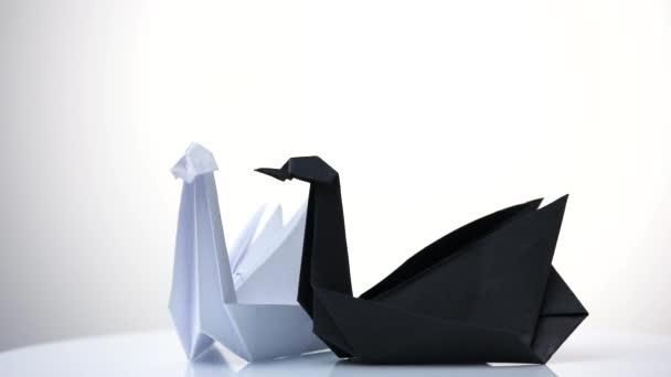 weiße und schwarze Papierschwäne.