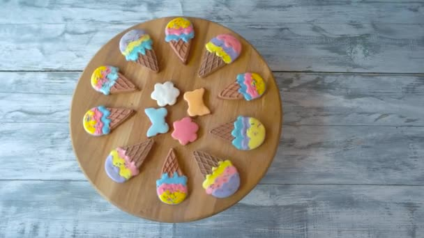 Pastry with colorful icing, top view.