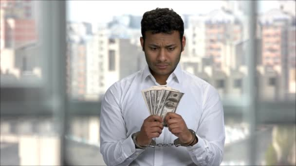 Bribe and corruption concept, arrested money.