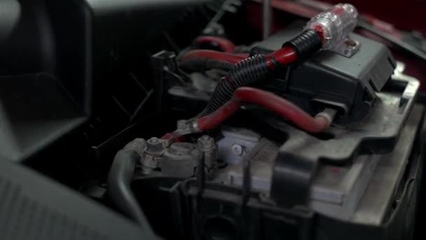 Close up details of a car engine.