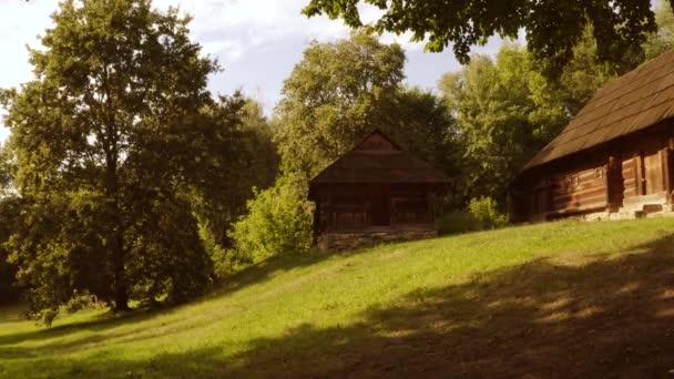 Régi fa kísérteties faház egy erdőben.