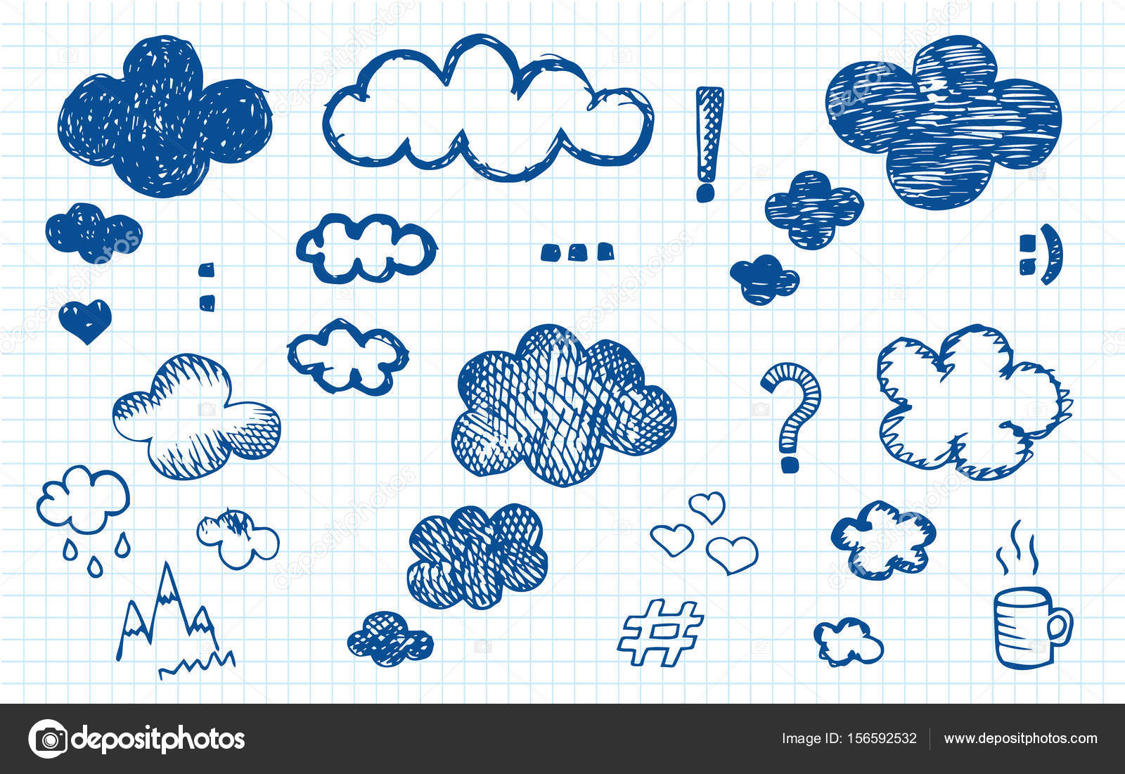 Pen Drawing Cloud Ideas On The Notebook Background Stock Vector