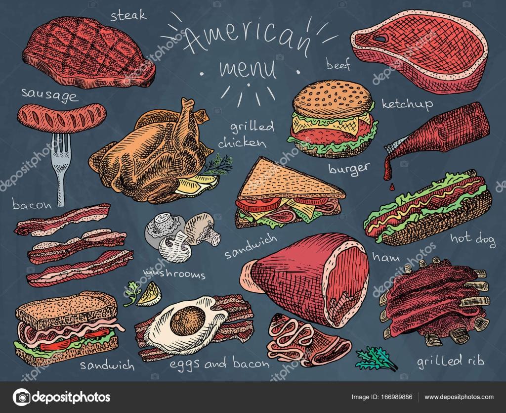 American menu, snack, ham, cheese, steak, hamburger, mushroom, bread ...