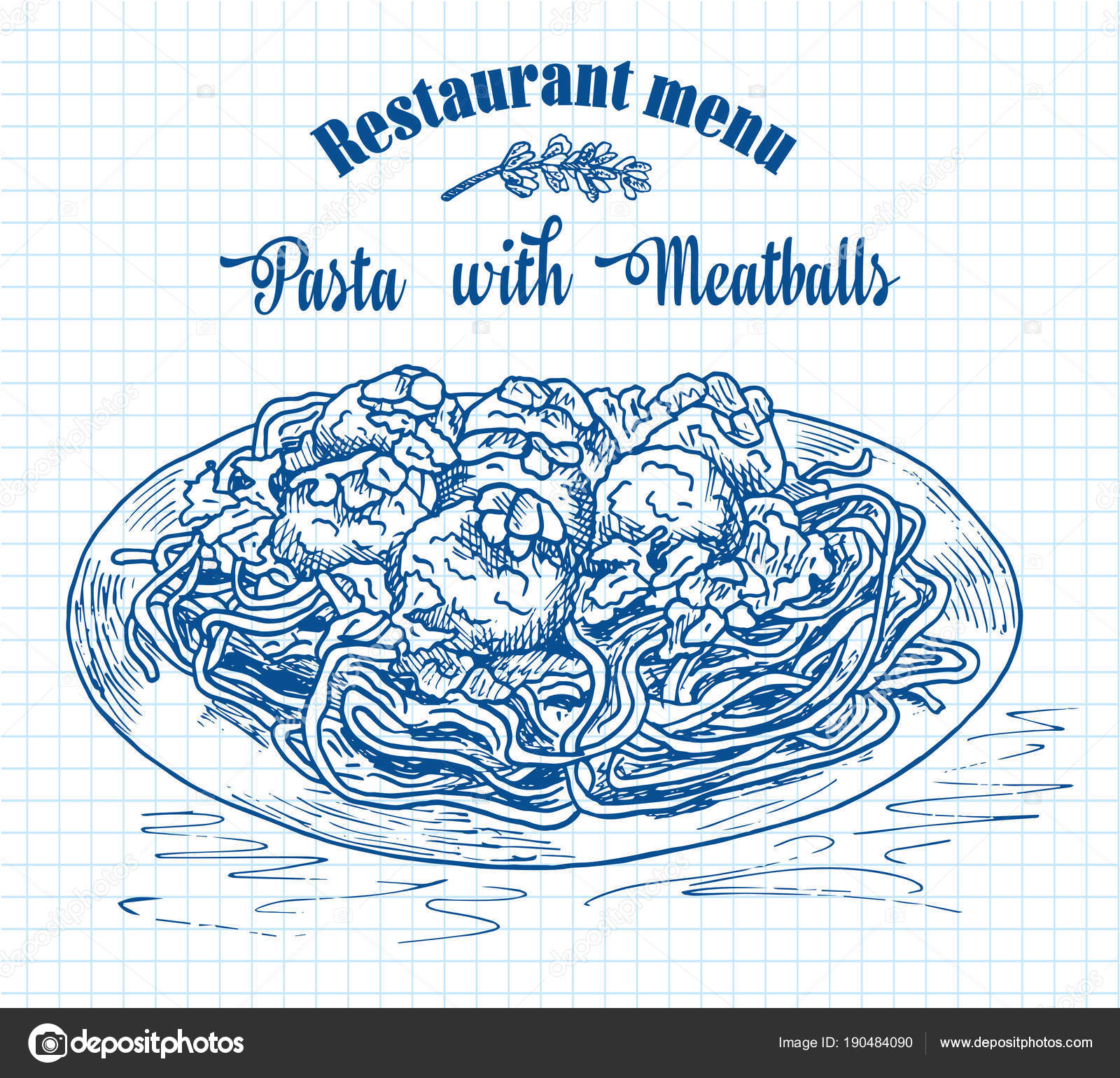beautiful hand drawing pasta with meatballs with tomato sauce ...