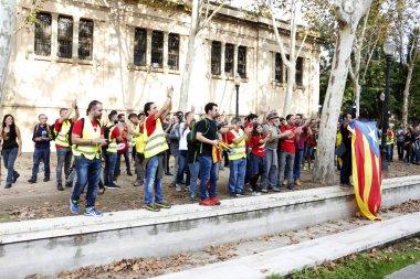 Barcelona, Catalonia, Spain, October 27, 2017: people celebrates vote to declare independence of Catalunya near Parc de la Ciutadella