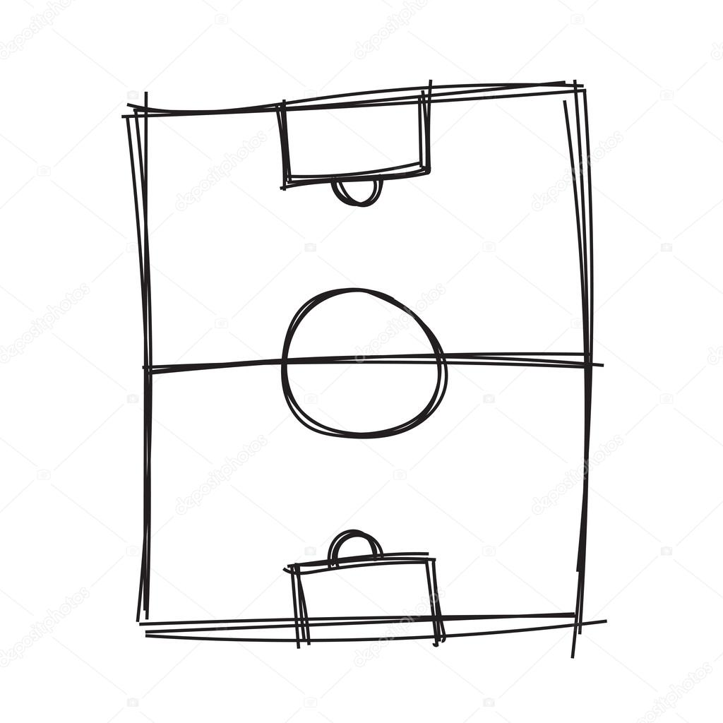 Hand draw soccer field — Stock Vector © madozi #128432324