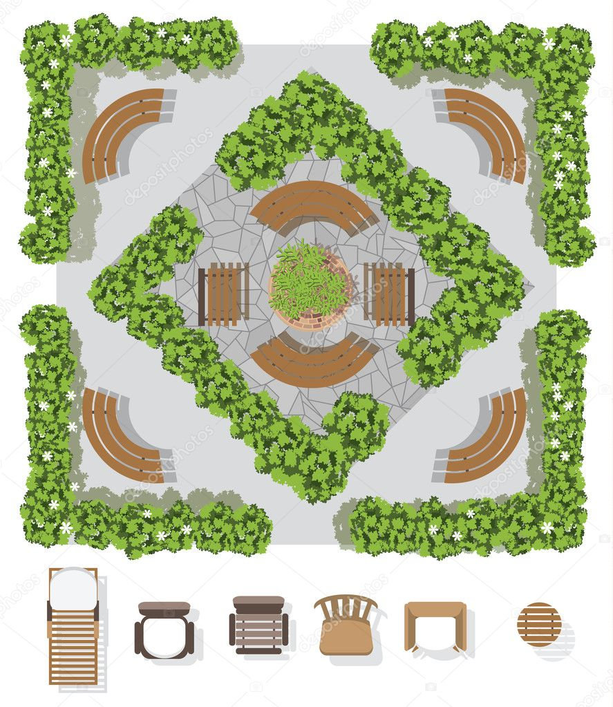 Landscape design composition with top view gardening and ...