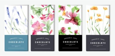 Chocolate bar packaging mock up set, watercolor style. Trendy luxury product branding template with label and geometric pattern. vector
