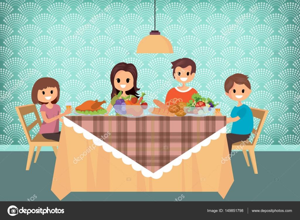 Familia teniendo comida juntos ilustraci n de dibujos - El comedor de familia ...