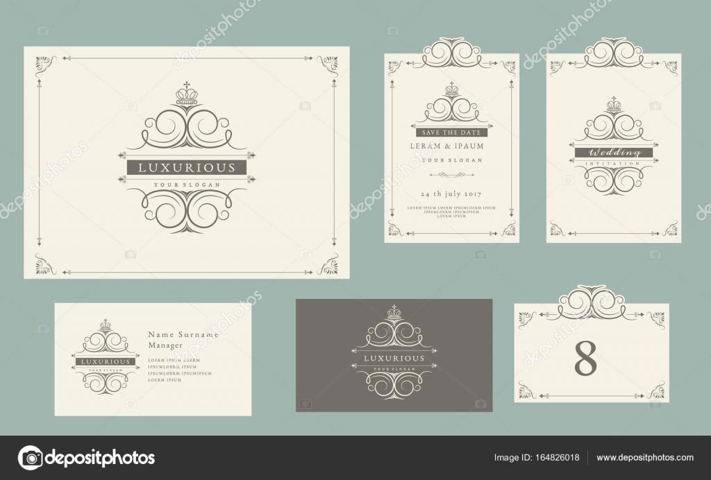 Vintage Ornament Set Certificate Frame Business Card Wedding Invitation Save The Date