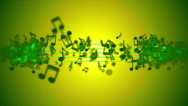 abstrakter Hintergrund mit bunten Musiknoten.