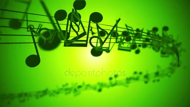 abstrakter Hintergrund mit bunten Musiknoten. Schleife