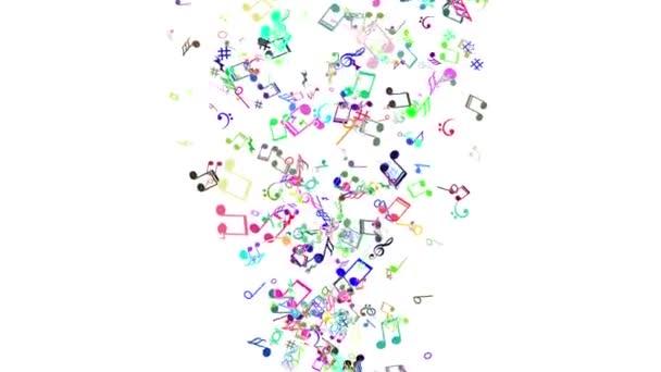 Sfondo astratto con note musicali colorate. In loop