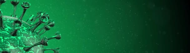 Mikroskopische Viruszelle. Pandemische Bakterien Krankheitserreger medizinisches Gesundheitsrisiko, Corona COVID-19 Alert SOS, Immunologie, Virologie, epidemiologisches Konzept. 3D-Rendering-Looping-Animation.