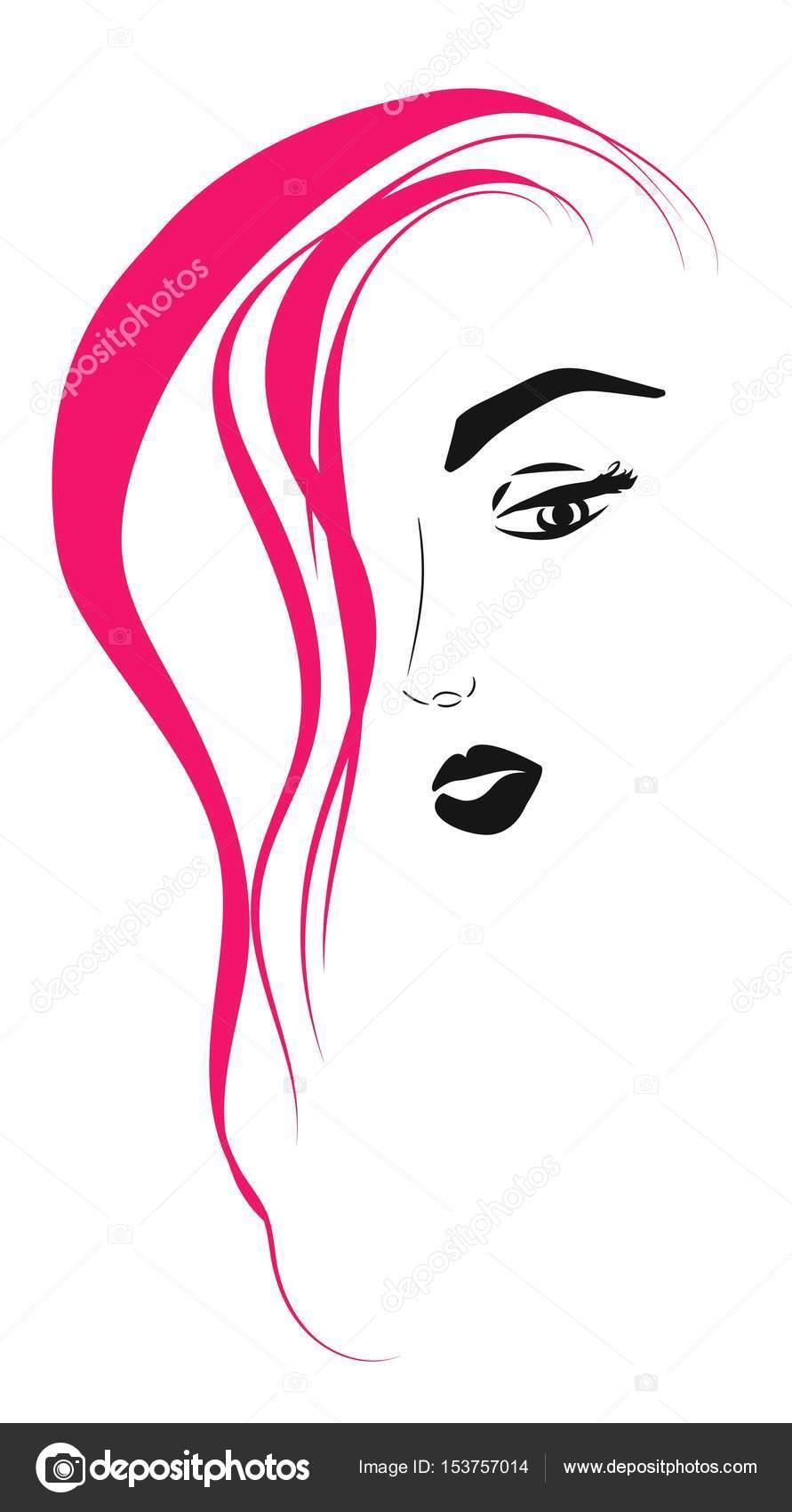 Gesicht eines Mädchens mit rosa Haaren auf weißem Hintergrund ...