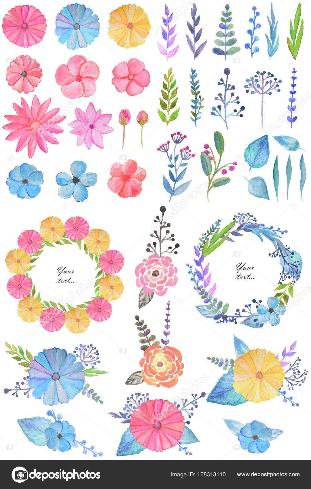 Sistema grande con hermosas flores acuarela, ramitas, hojas, diseño ...