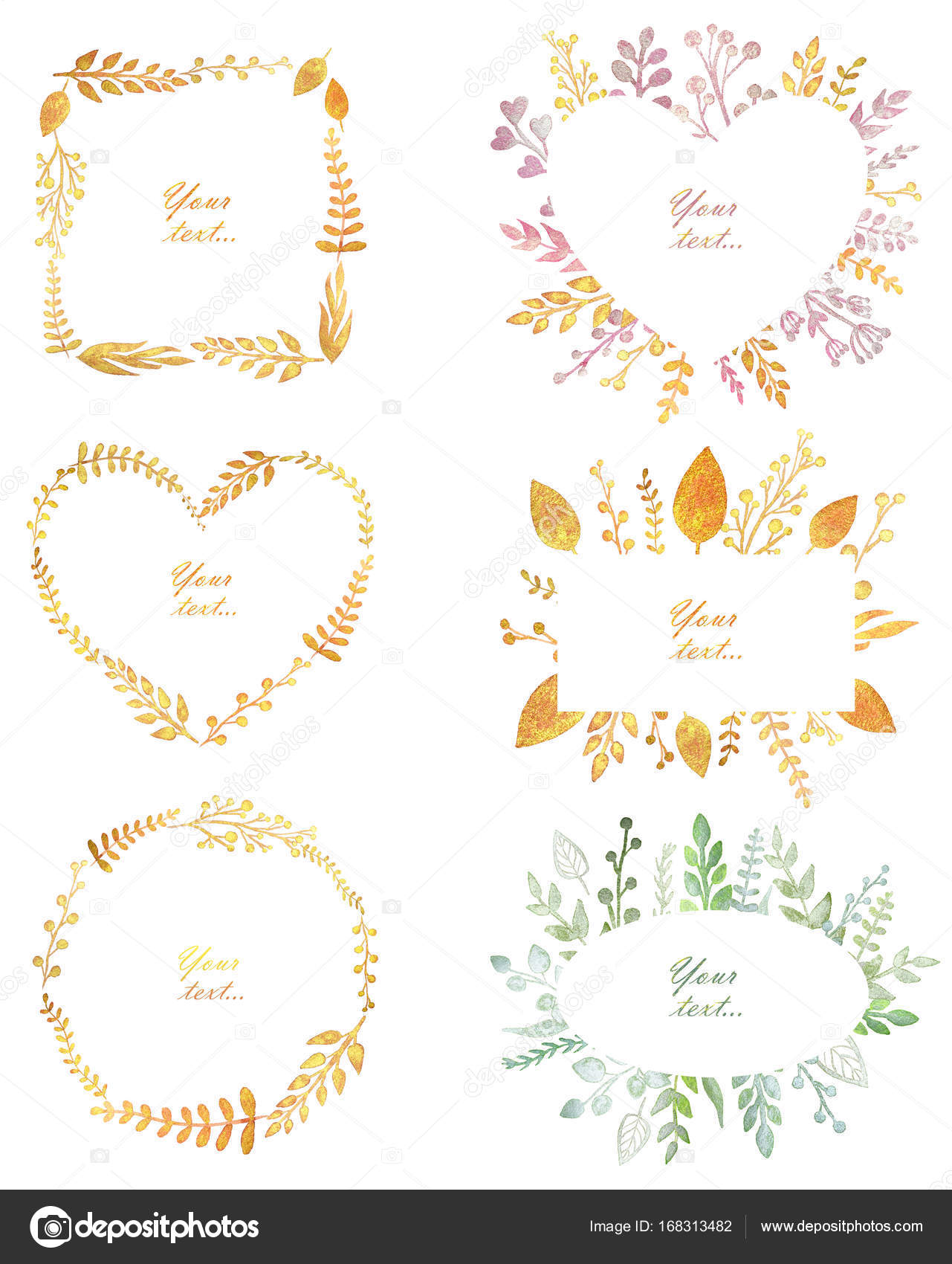Set with beautiful frames with pearl watercolor leaves, cute design ...