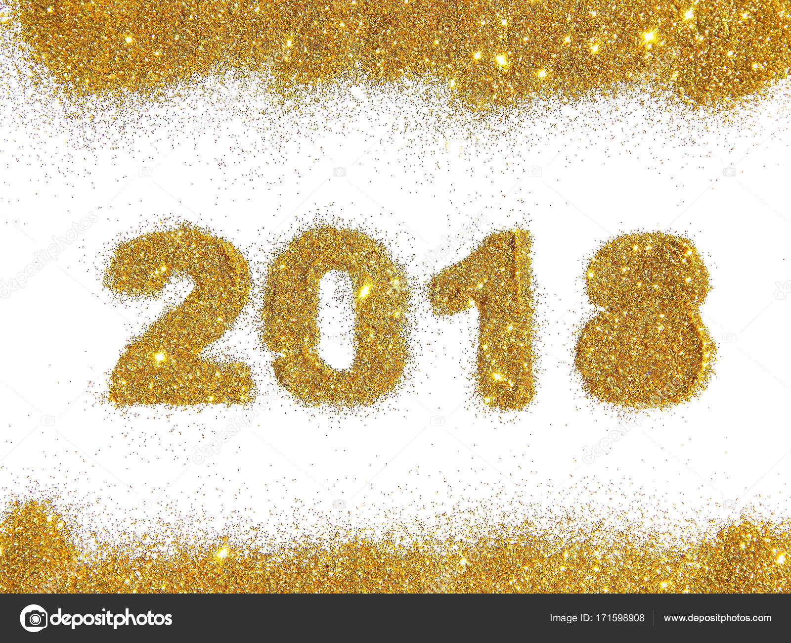 figures 2018 and a border of golden glitter on white background symbol of new year card for your design photo by mila_1989