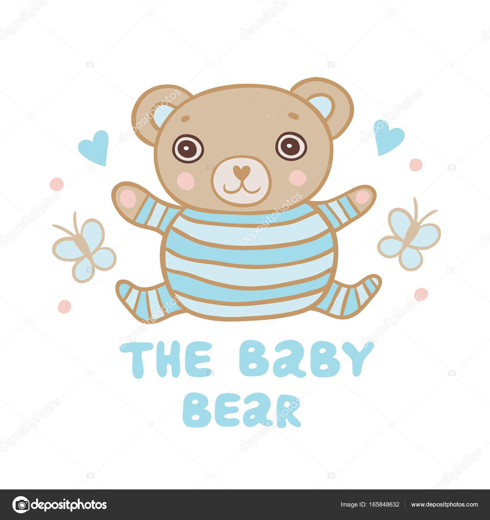 873dc32531 Lindo pequeño oso en la ilustración de la pijama de rayas — Archivo  Imágenes Vectoriales