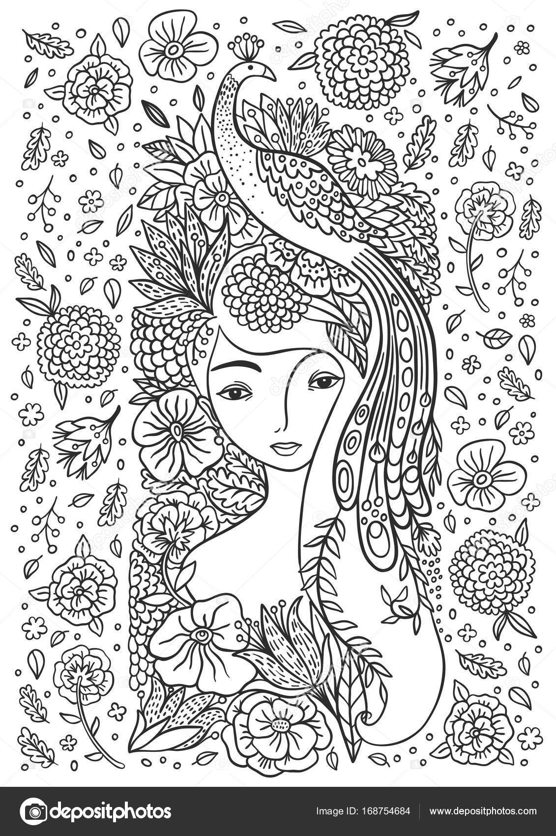 Schöne Mädchen mit Vogel und Blumen — Stockvektor © Apolinarias ...