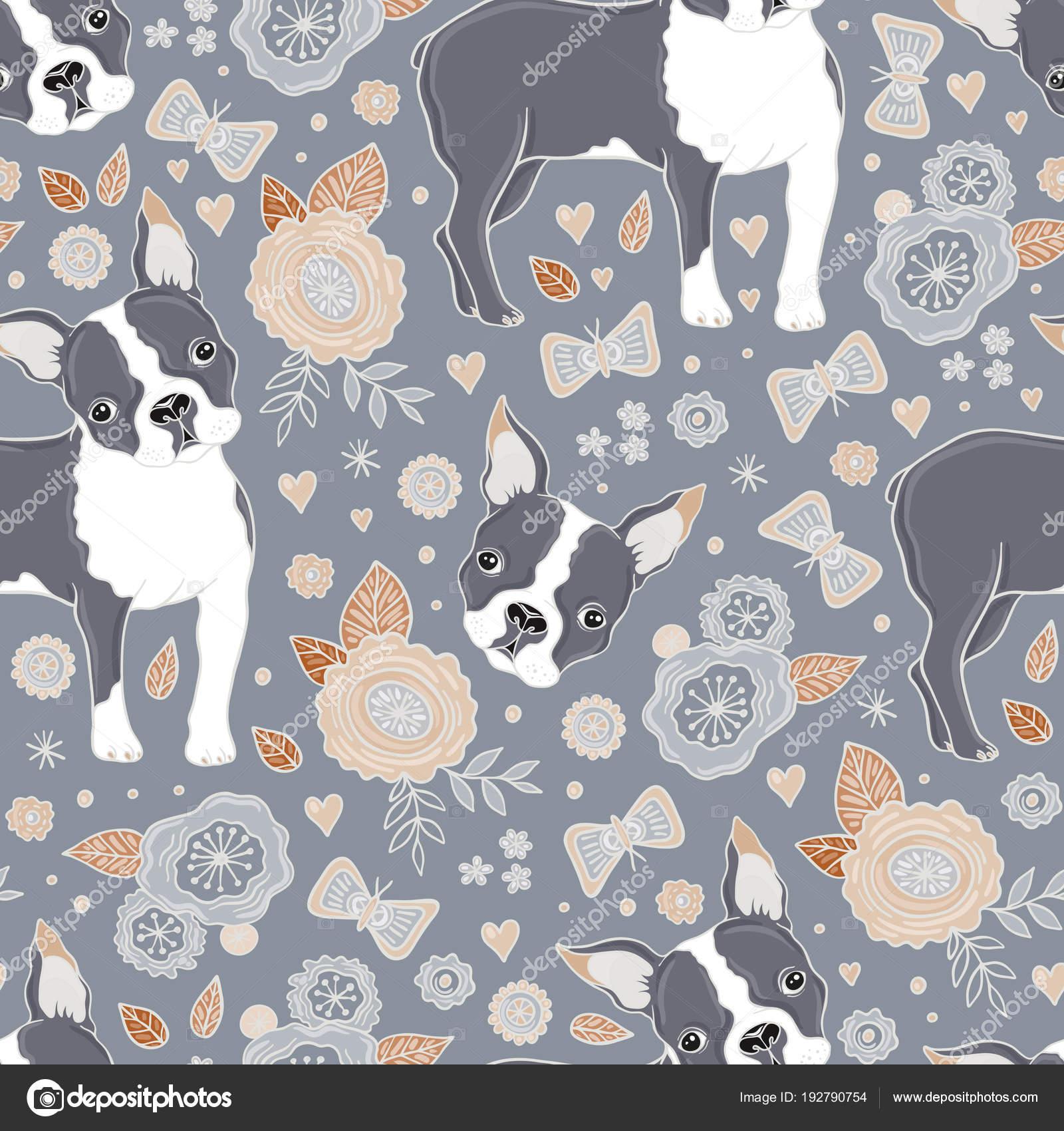 Boston Terrier y flores de patrones sin fisuras — Archivo Imágenes ...