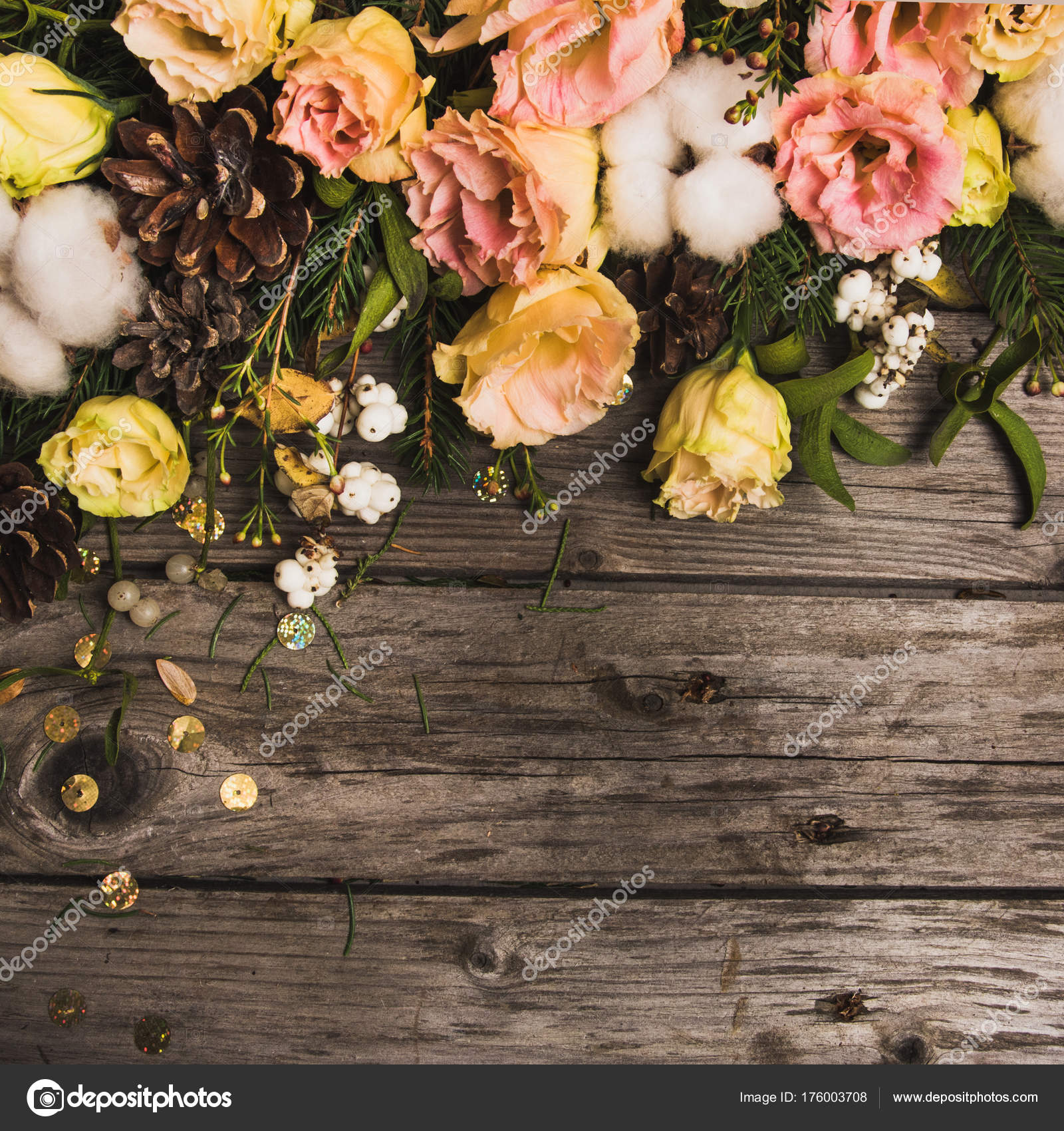 new year composition flowers gifts wooden table christmas background flat stock photo
