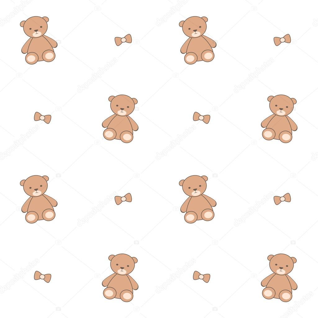 Cute cartoon teddy bear seamless vector pattern background ...