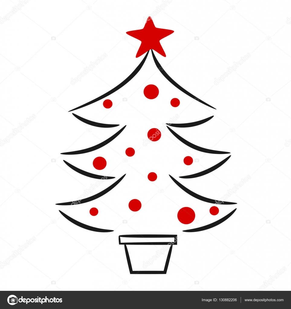 Niedliche Handgezeichneten Schwarz Weiß Rot Weihnachtsbaum Linearer