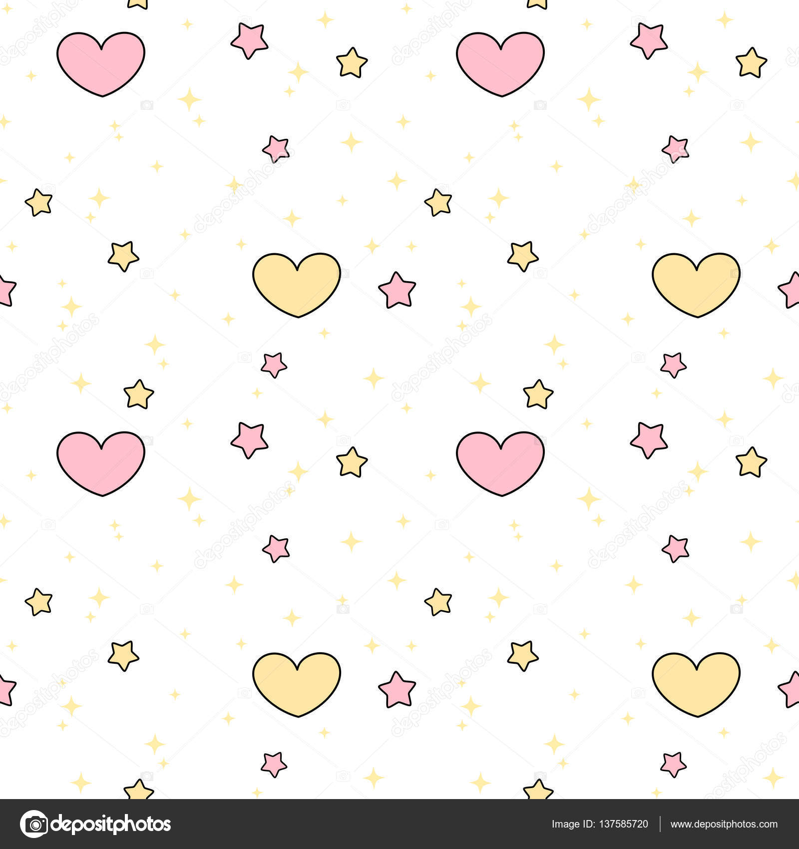 Cute Lovely Pink Yellow Hearts And Stars Seamless Vector Pattern Background Illustration Stock Vector C Alicev1978 137585720
