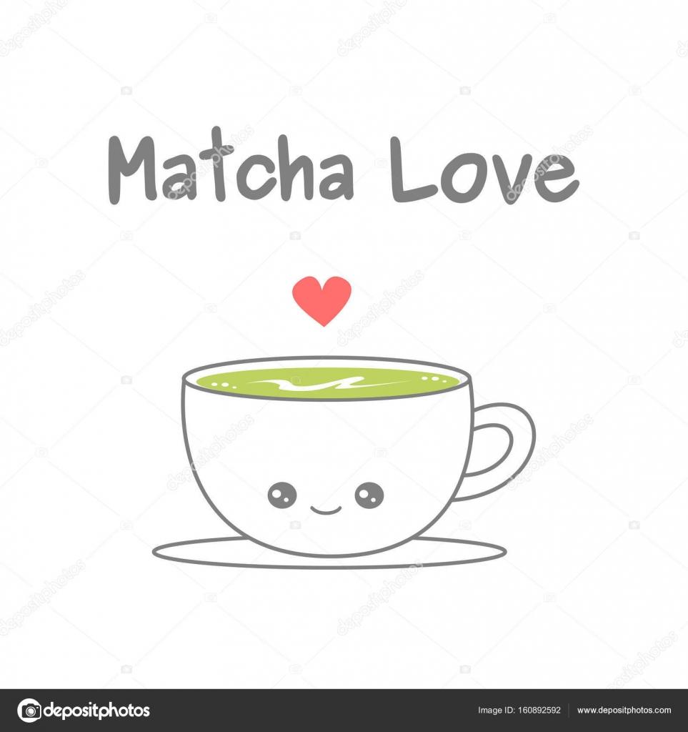 抹茶ラテ ベクトル イラスト白い背景で隔離のかわいい漫画のカップ