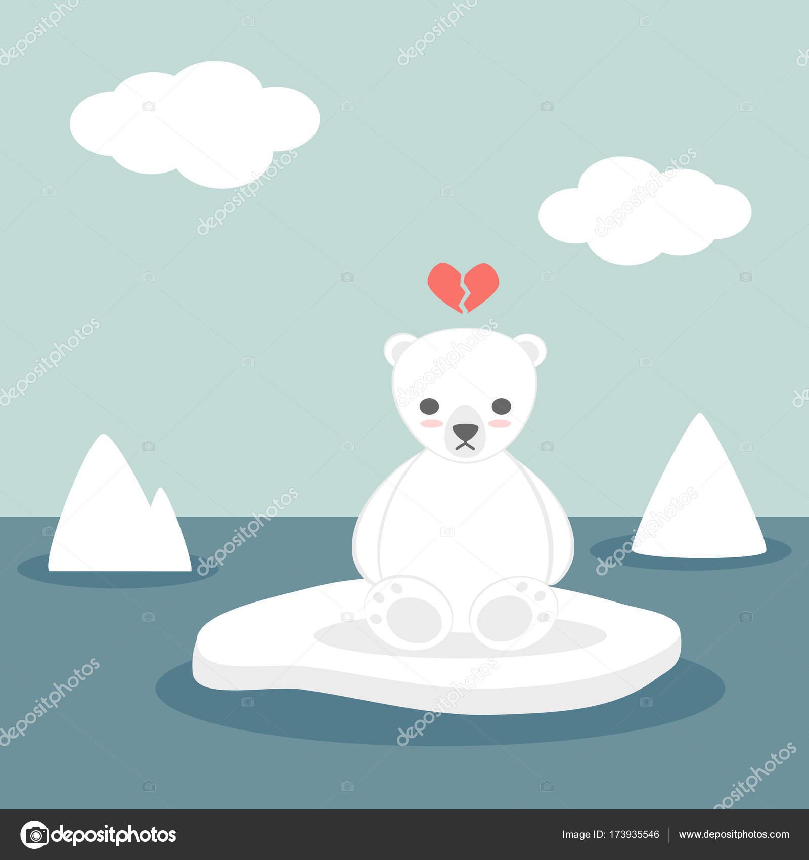 Carino bella dei cartoni animati vettore bianco orso polare su