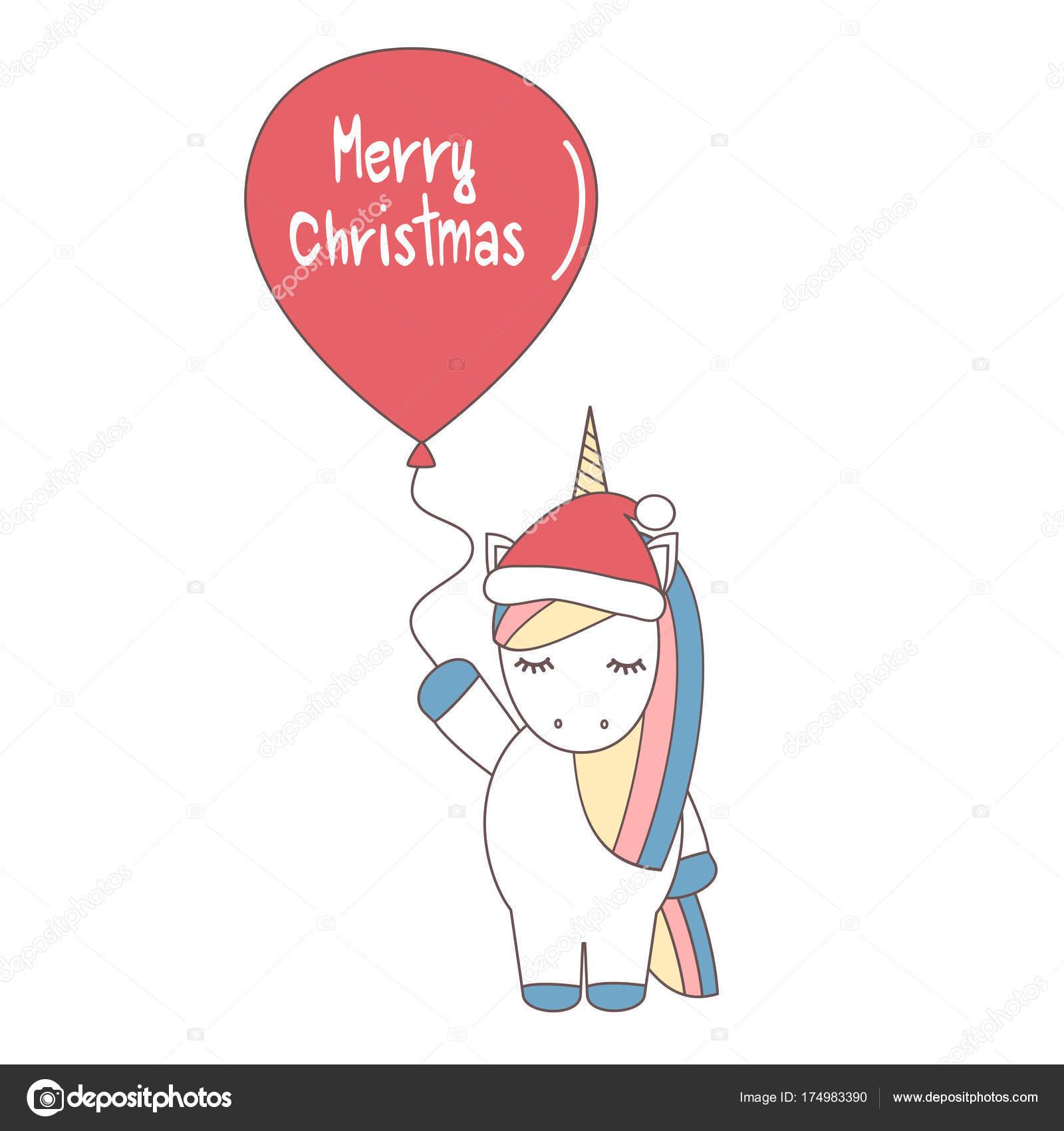 Licorne Vecteur Dessin Animé Mignon Avec Chapeau Père Noël