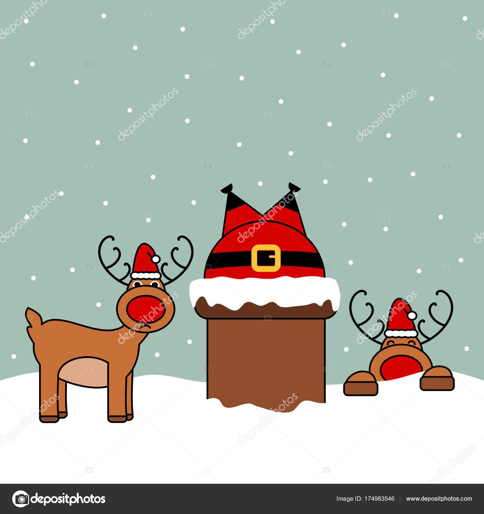 Lustige Weihnachten Bilder.Niedlichen Cartoon Vektor Weihnachtsmann Schornstein Lustige