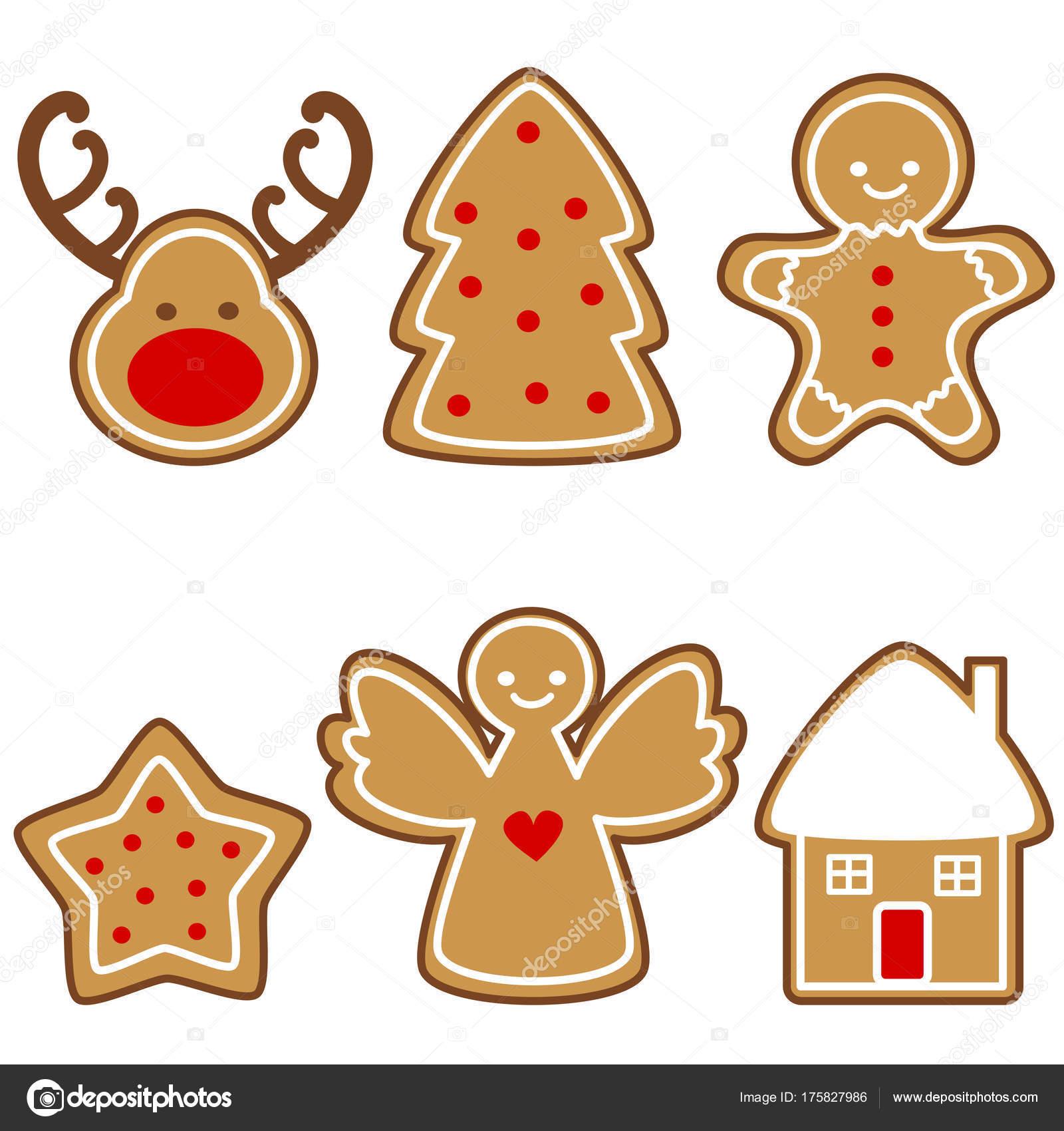 Imagenes De Galletas De Navidad Animadas.Vector Dibujos Animados Lindo Set Galletas Jengibre Navidad