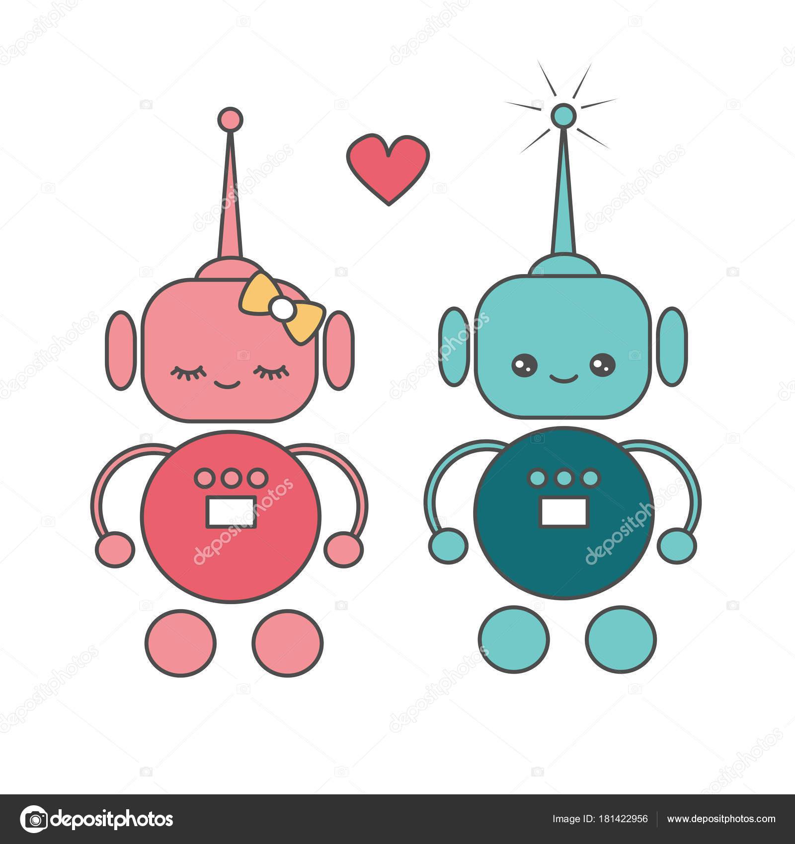 Dessin Amoureux Mignon robots vecteur dessin animé mignon amour — image vectorielle