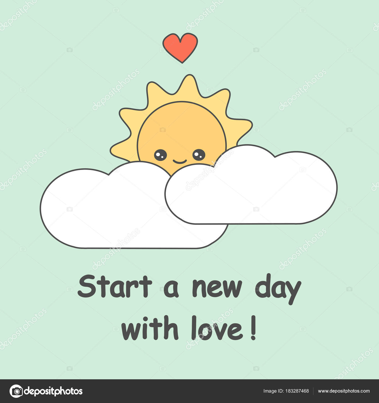 Start New Day Love Quote Vector Illustration Cute Cartoon Sun