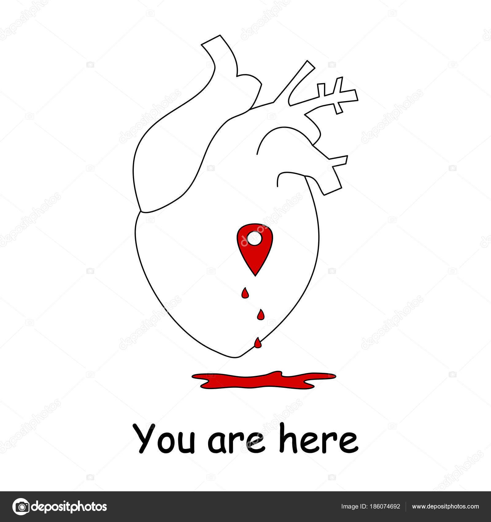 Ilustración Vector Concepto Con Corazón Humano Amor Mapa Ubicación ...