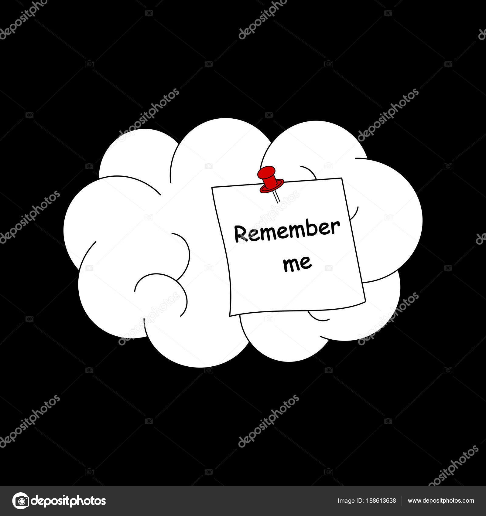 Remember Concept Vector Illustration Human Brain — Stock ...
