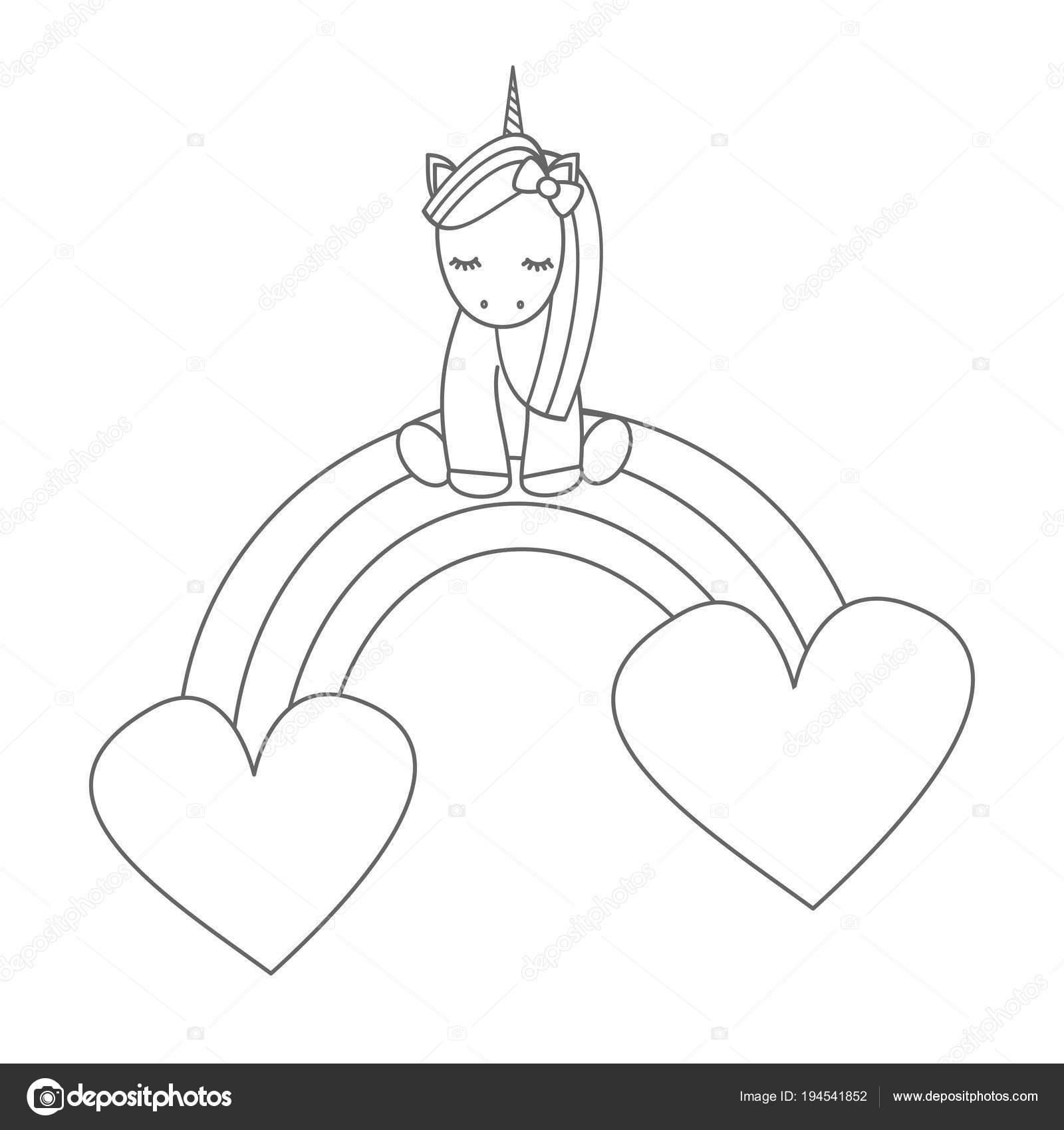 Unicornio Lindo Sentado Arco Iris Con Corazones Vector Blanco Negro ...