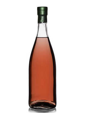 a bottle of alcohol of moonshine pink color with shadow, isolated on white