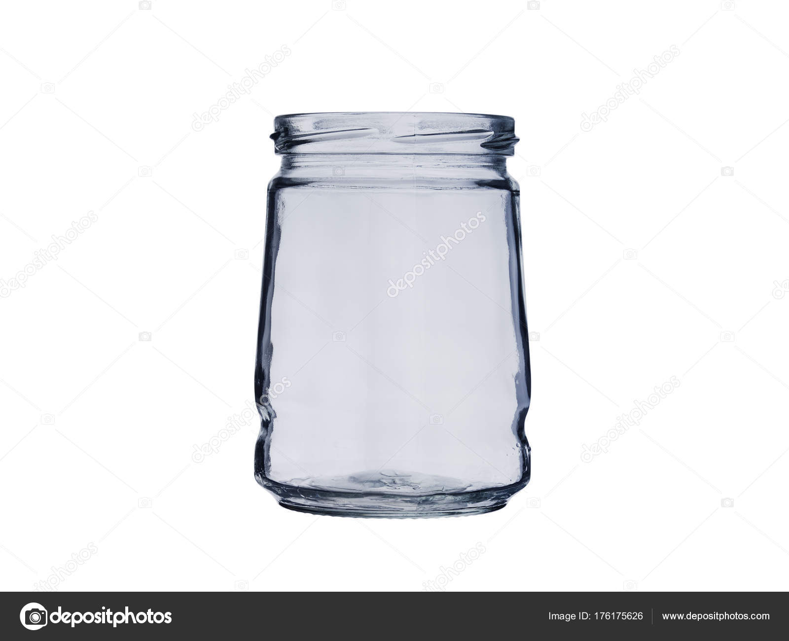 empty glass jar open isolated on white background stock photo
