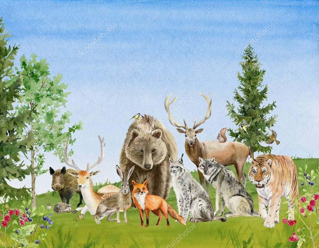 Watercolor handpainted poster with animals