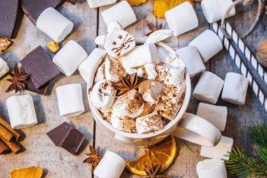 hot cocoa with marshmallow kitten.