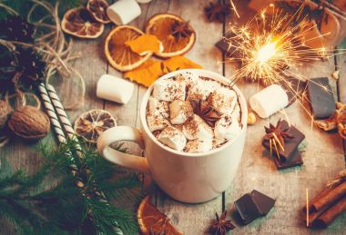 A Christmas drink. Selective focus.