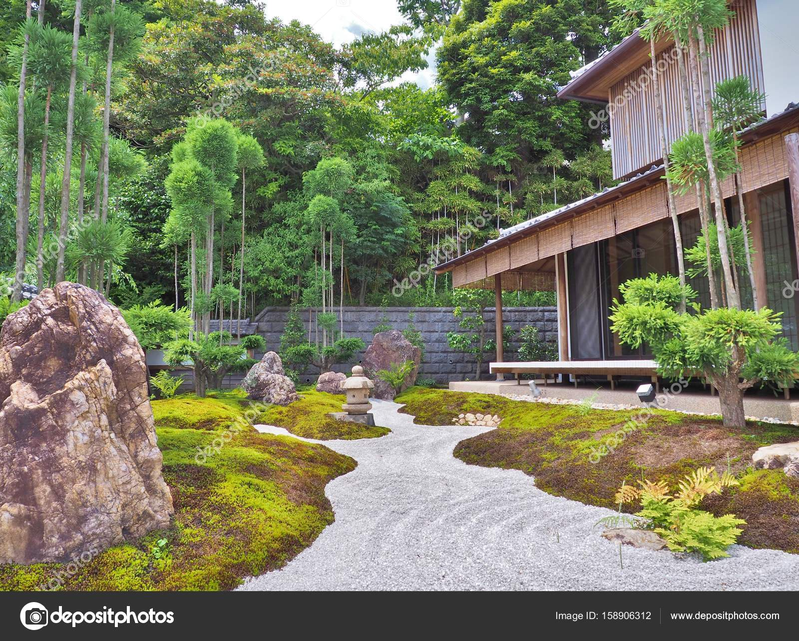 Gravel Path, Stone Lantern, Stones And Wooden Building In Japanese Garden U2014  Stock Photo