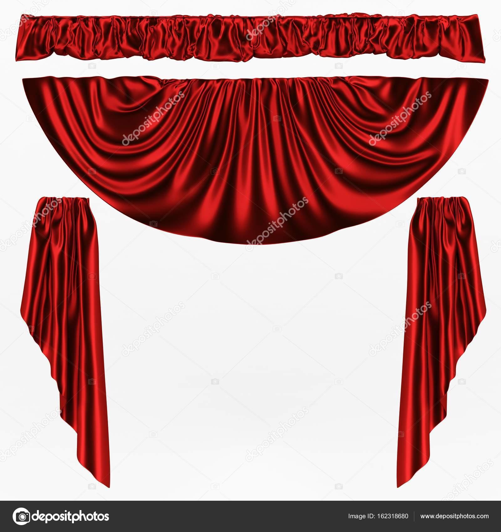 3D illustratie, abstract rood gevouwen doek, gordijnen op een witte ...