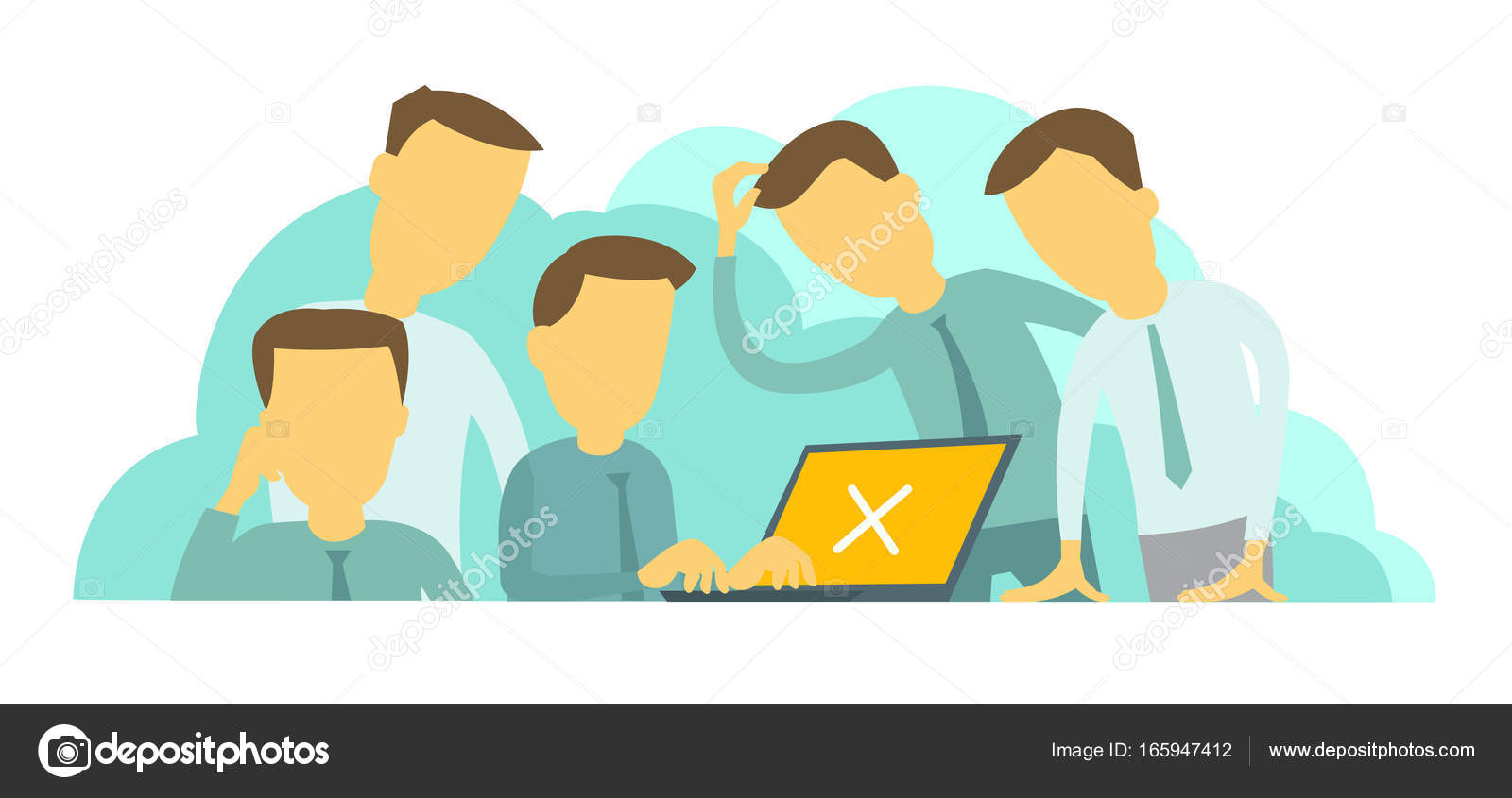 difficult situation at work company of five people teamwork programmer